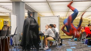 BATMAN AND SPIDERMAN GO TO THE LIBRARY PRANK (The University of Texas)