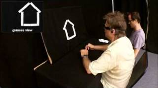 Blind man analyzes abstract house shape through visual-to-auditory sensory substitution (PIP)