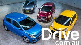 Holden Spark v Kia Picanto v Suzuki Celerio v Mitsubishi Mirage | Drive.com.au