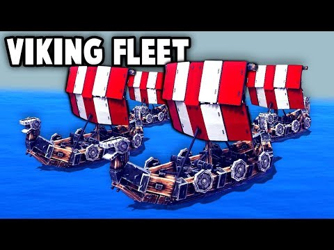 VIKING INVASION FLEET vs Pirate Ships!  (Besiege Multiverse Multiplayer Gameplay Funny Moments Ep 2)