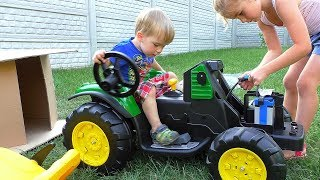 FUNNY BABY Unboxing And Assembling The POWER WHEEL Ride On Tractor by MelliArt