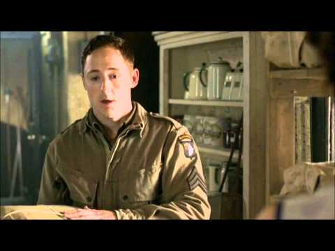 Band of Brothers - Scene of Malarkey Picking Up Laundry