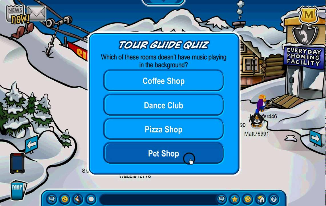 Club Penguin How To Pass The Tour Guide Quiz Youtube