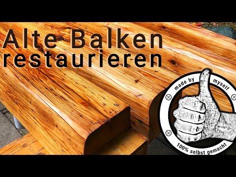 alte Holz Balken restaurieren, aufbereiten, hobeln, streichen ...