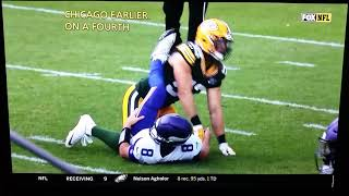 Clay Matthews #52 roughing the Passer penalty Packers/Vikings