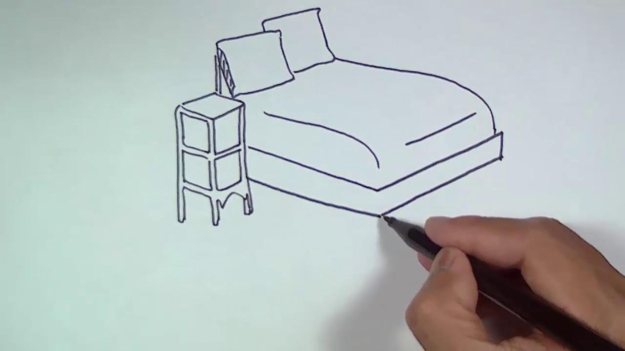 Cara Menggambar Tempat Tidur How To Draw A Bed Youtube