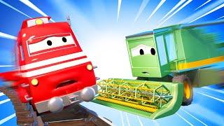 Harvey der Mähdrescher kollidiert mit Troy - Autopolis 🚓 🚒 Lastwagen Zeichentrickfilme für Kinder