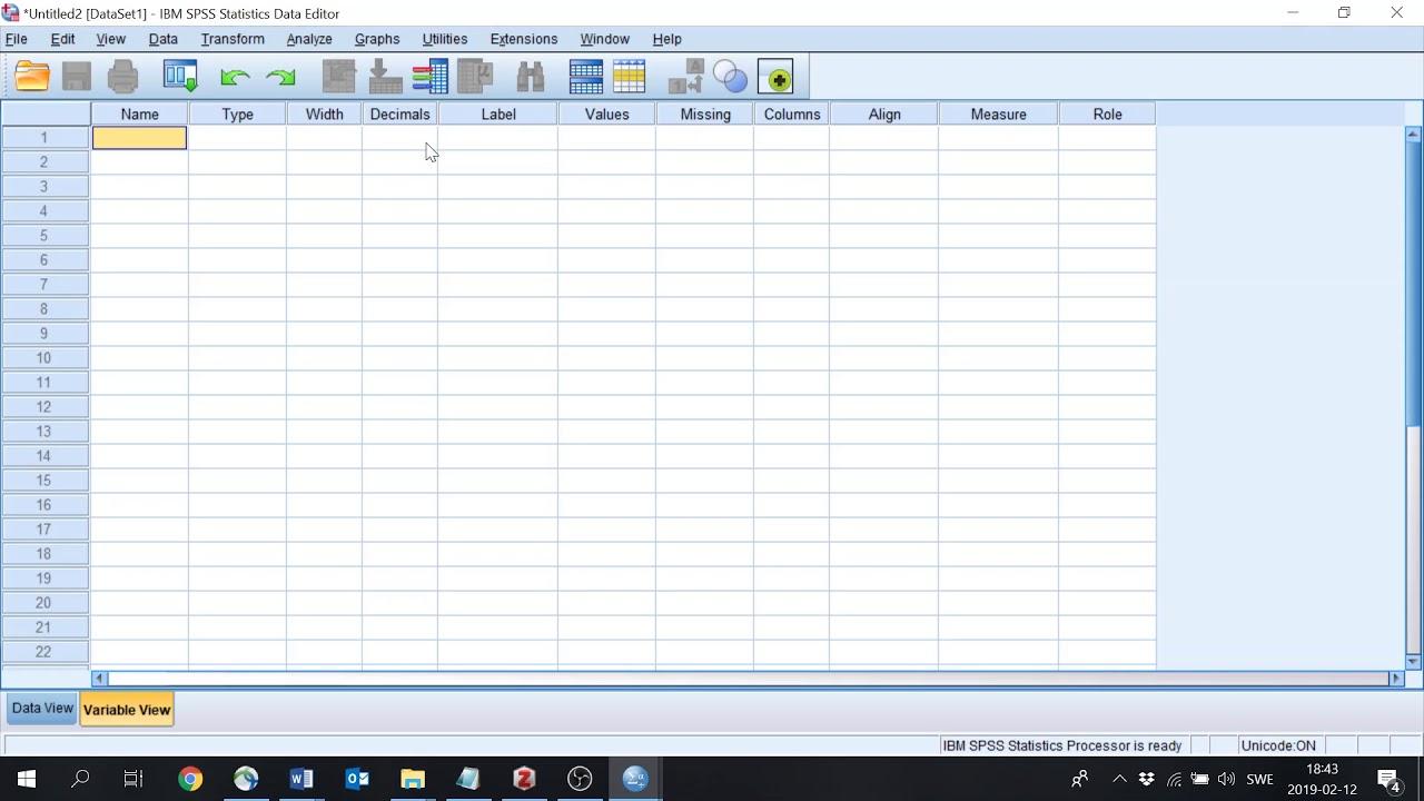 Tutorial 1 SPSS: Lägga in variabler och data 1