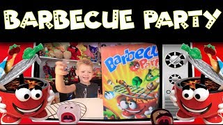 BARBECUE PARTY KIDS GAME PUPPET SHOW. Don't let the grill pop it's top!!!