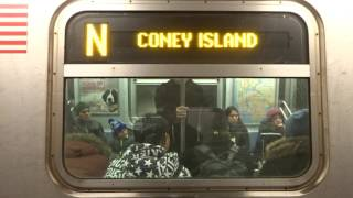NYC Subway: R160 (N) Exterior Destination Sign To Coney Island (Broadway-4th Ave Lcl-VIA Whitehall)