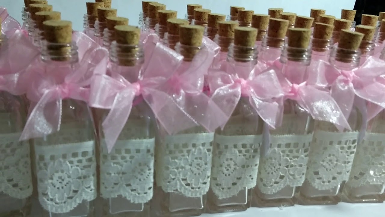 Botellas decoradas para recuerdo de bautizo youtube - Botellas de cristal decoradas ...