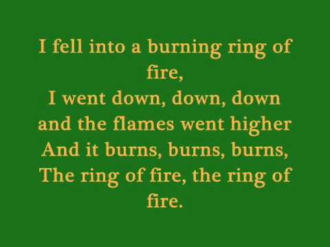 Ring of Fire - Johnny Cash (Lyrics)