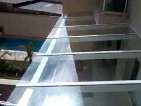 Cobertura em vidro laminado youtube for Materiales para toldos de aluminio