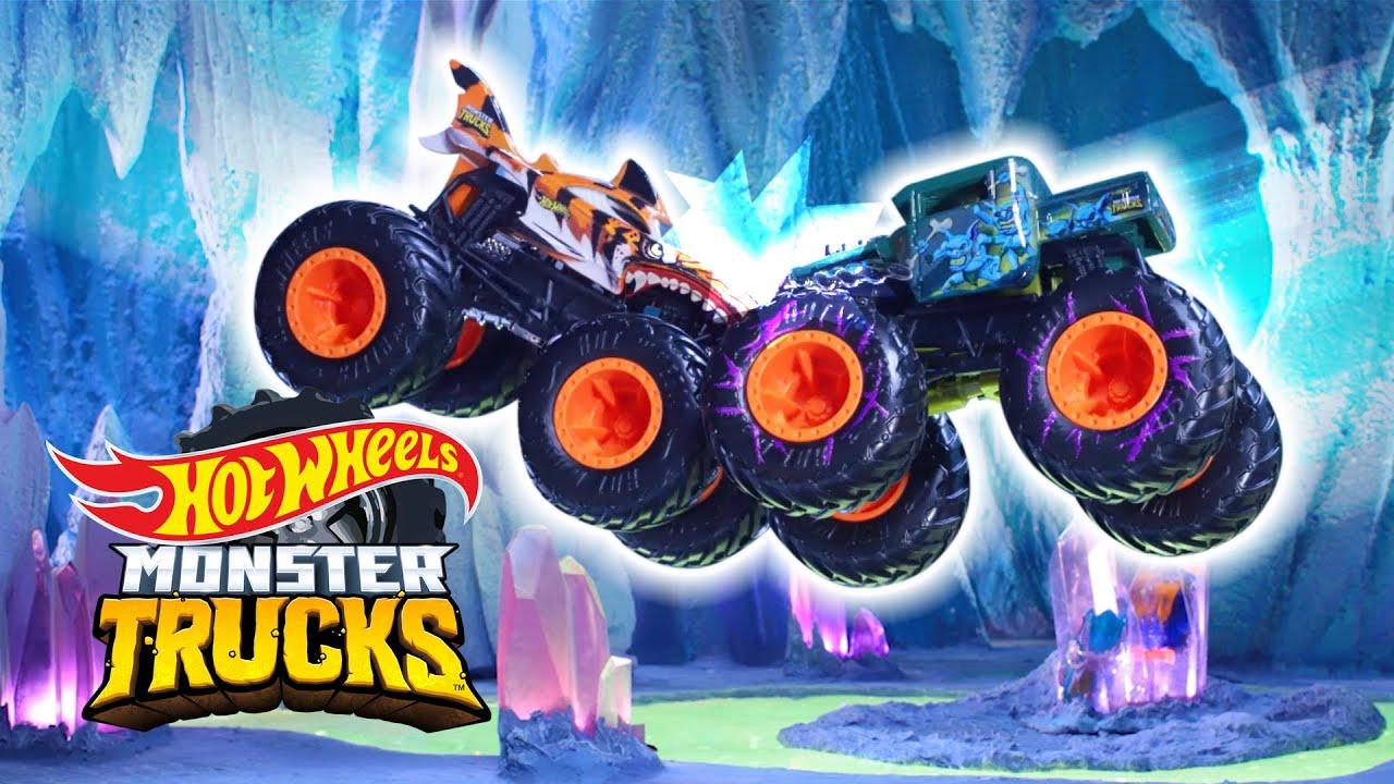 @Hot Wheels  | The CRYSTAL CAVERN BASH💥 | Monster Trucks Island