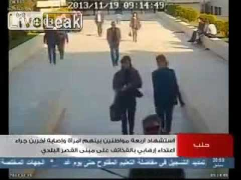 CCTV footage captures mortar or rocket attack in Syria