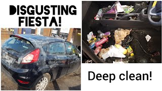 Cleaning a disgusting ford fiesta car disaster detail!