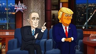 Cartoon Trump And Cartoon Putin Make First Joint Public Appearance