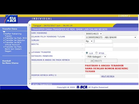 Cara Transfer via Klikbca ke Bank Lain - YouTube