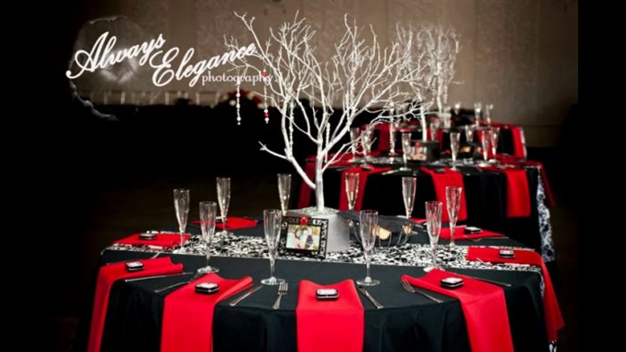 Ideas de decoraci n de boda de color negro y rojo youtube - Salones blanco y negro ...