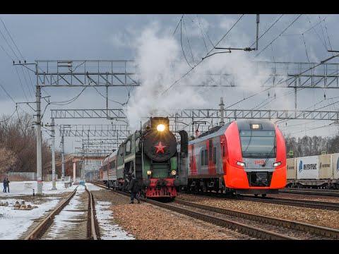 """Мимолетное и вечное. """"Ласточка"""" обгоняет паровоз. Passing And Eternal. Speed Train Outruns A Steam."""