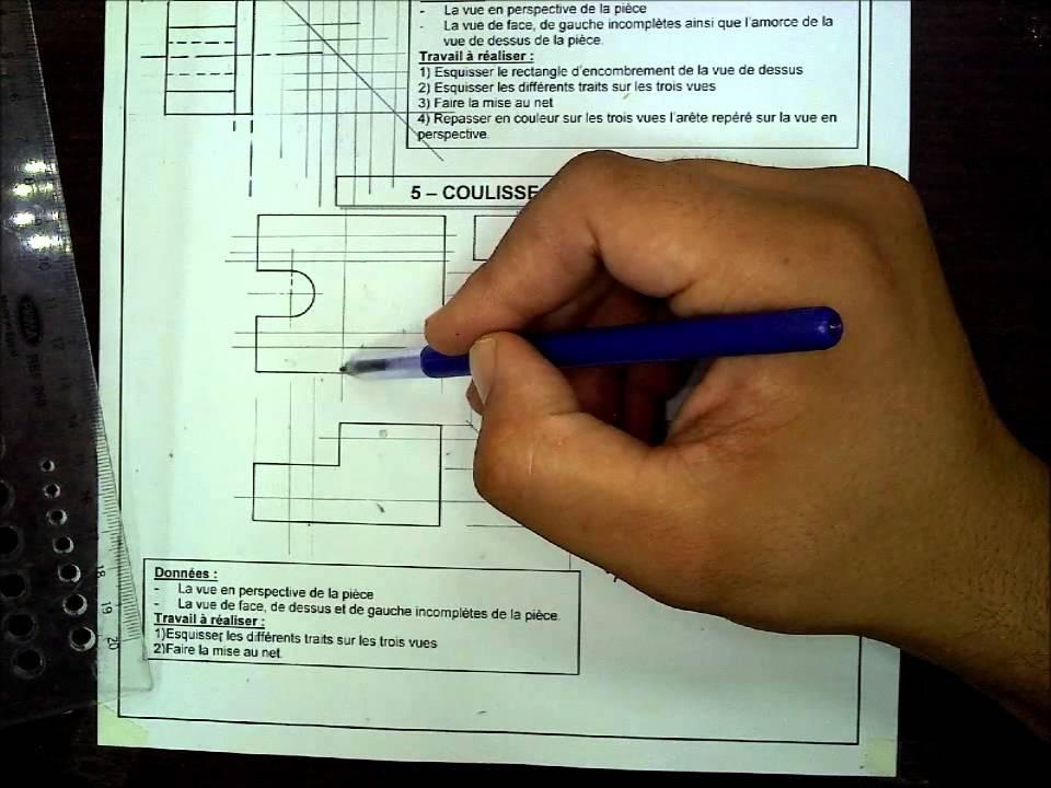 Cours De Dessin Industriel Exercice De Projection Piece N 5
