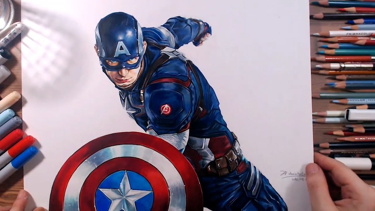 Captain America Chris Evans Speed Drawing Drawholic