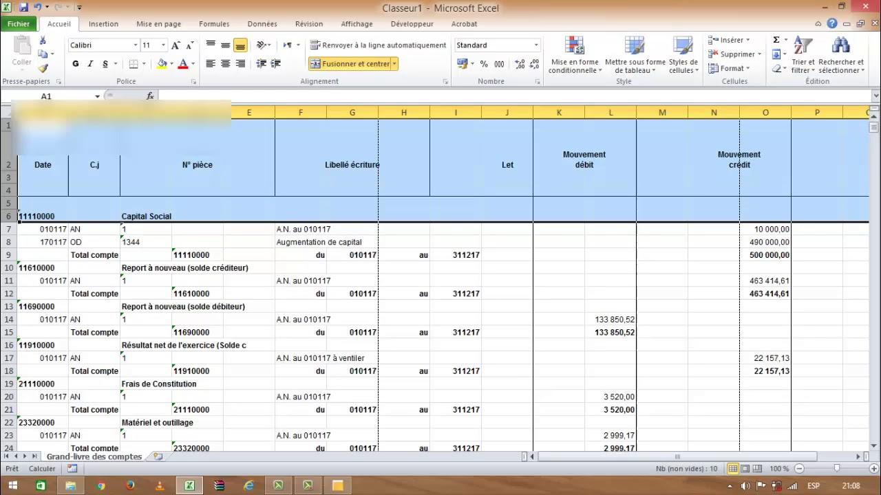 Exportation du Grand livre, Balance Méthode standard et ...