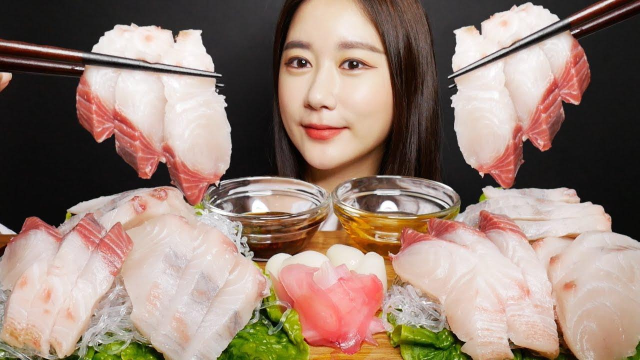 SUB)ASMR 삼치회 먹방 Raw Fish Sashimi サワラ回 刺身 ซาชิมิ Real sound Mukbang