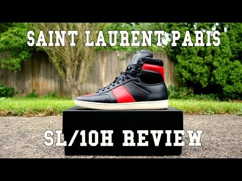 Saint Laurent Paris SL/10 High Black/Red   On Feet