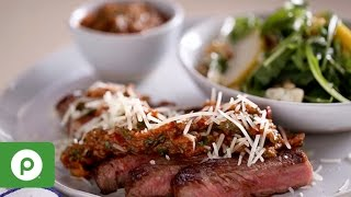 Steak with Spicy Mushroom Sauce and Pear Arugula Salad