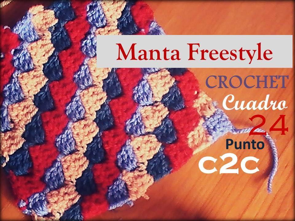 PUNTO C2C a crochet - cuadro 24 manta FREESTYLE (zurdo) - YouTube