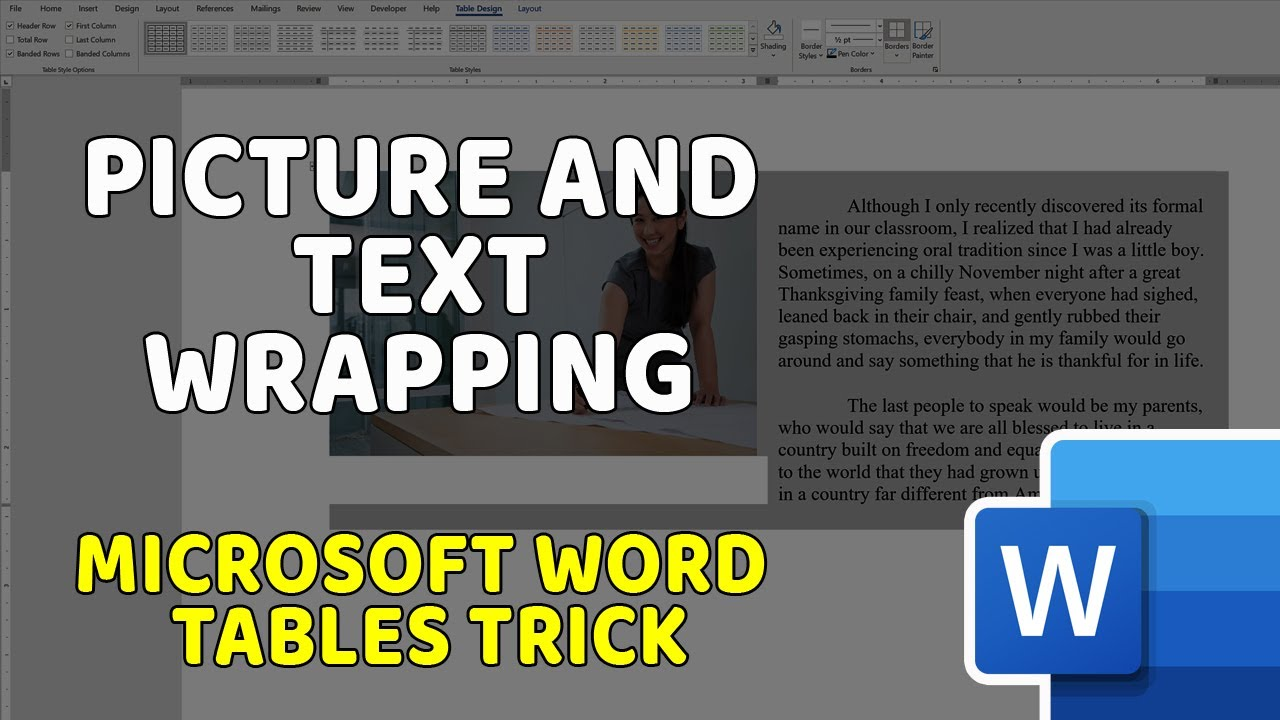 Picture and Text Wrapping – Microsoft Word Tables Trick