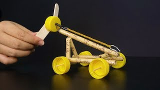 How to Make Rubber Band Powered Car | DIY Toy Car