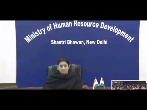 HRD Minister Smt. Smriti Zubin Irani Video Conferencing with IIM Indore 16 December 2015