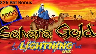 Sahara Gold Lighting Link Slot Machine Big Win | Wonder 4 Slot Buffalo Deluxe, Miss Kitty & More