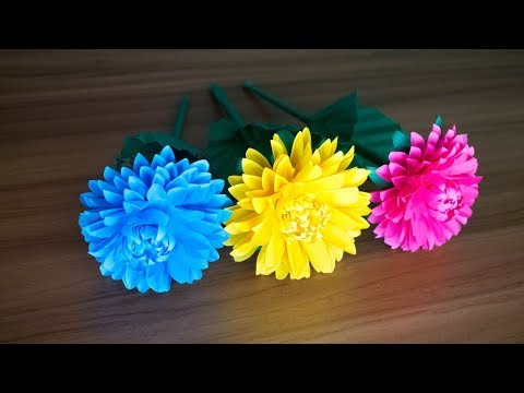 How to Make Paper Dahlia Flower Craft at Home | Paper DIY | Kagojer Ful