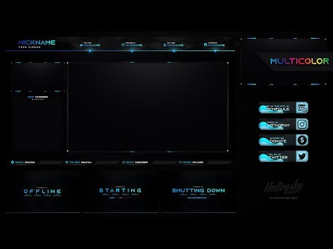 BEST TWITCH STREAM OVERLAY TEMPLATE 2019 + MULTICOLOR #13