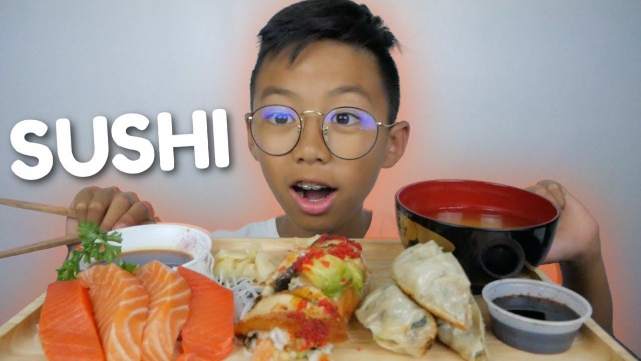 SUSHI * Butterfly Roll, Salmon & Sockeye Sashimi and Miso Soup NO Talking Mukbang