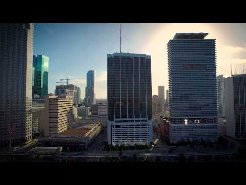 Bayfront Park Miami Florida Aerial Video