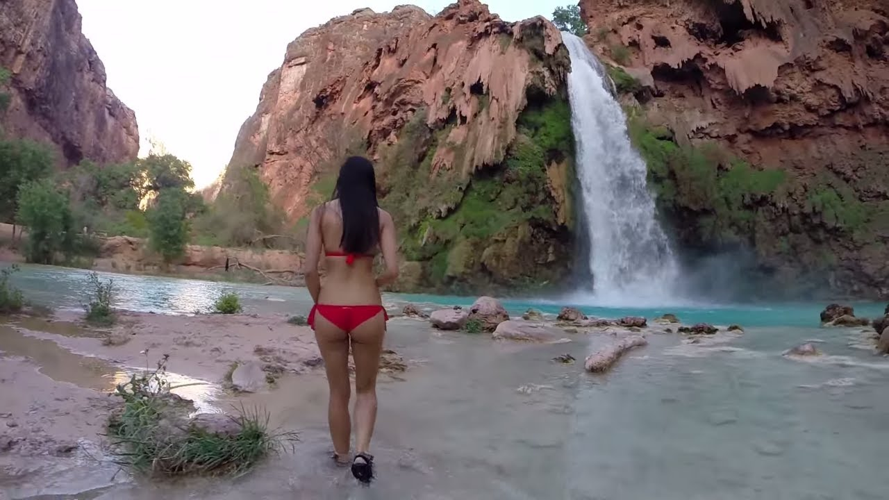 havasu falls adventure - all the waterfalls and the hike in - gopro