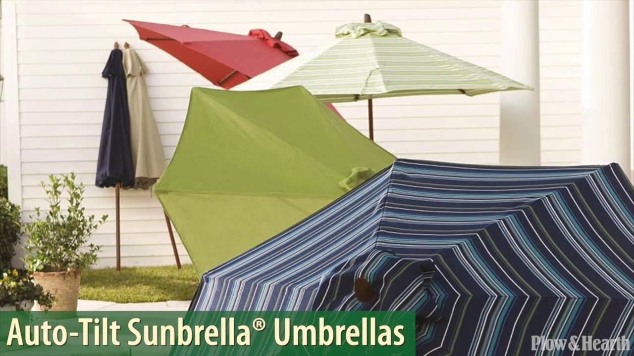 Auto Tilt Sunbrella® Umbrella With Crank Arm SKU# 39408   Plow U0026 Hearth    YouTube