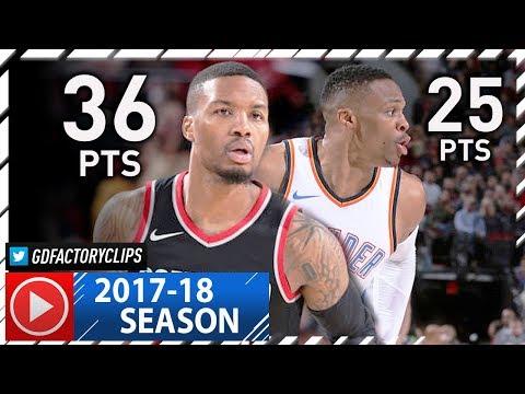 Damian Lillard vs Russell Westbrook ELITE PG Duel Highlights (2017.11.05) Blazers vs Thunder - EPIC!