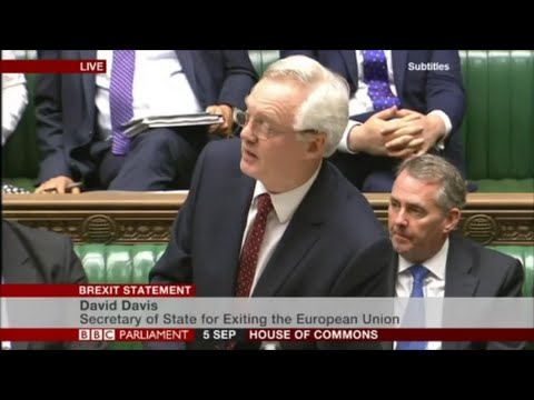 David Davis Minister for Brexit speech in Parliament
