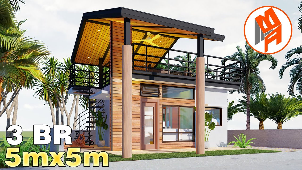 Bungalow House With Roof Deck House Design 5x5m 50 Sqm W 3 Bedrooms 2021 Youtube
