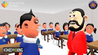 Cartoon comedy A1 scene student and teacher angry