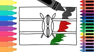 How to Draw a Kenya Flag - Coloring Pages for kids - Draw the Kenyan Flag | Tanimated Toys