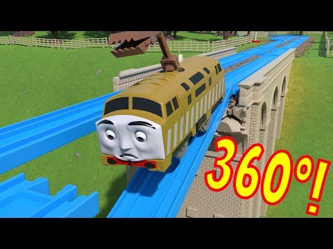 360º TOMICA Thomas and Friends: Diesel 10 FALLS off the Viaduct!