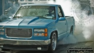Repeat youtube video LIL BLUE: A CUSTOM Twin Turbo 408ci. Powered CHEVY SLEEPER @ Ls1truck.com shoot out 2013