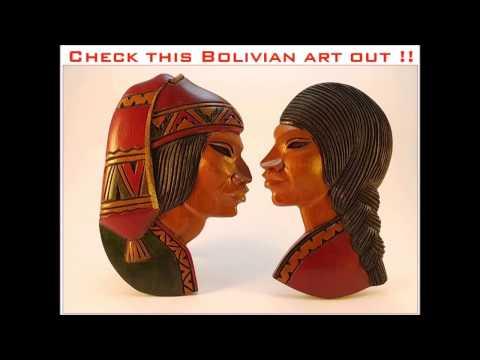 Bolivian art Vintage  handmade native wooden carved wall hanging masks
