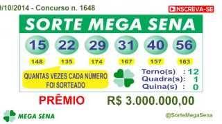 RESULTADO MEGA SENA - 1648 - Sortei